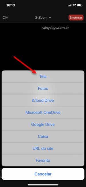 Opção para transmitir tela do iphone