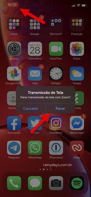 Parar transmissão de tela do iPHone no Zoom