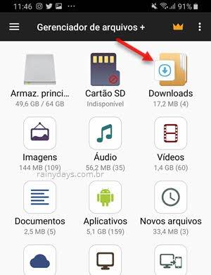 pasta Downloads gerenciador de arquivos Android