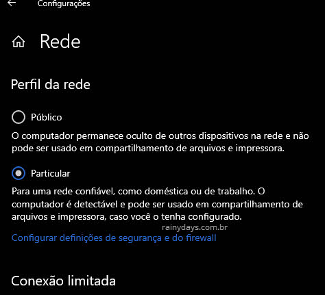 Perfil de rede Particular no Windows