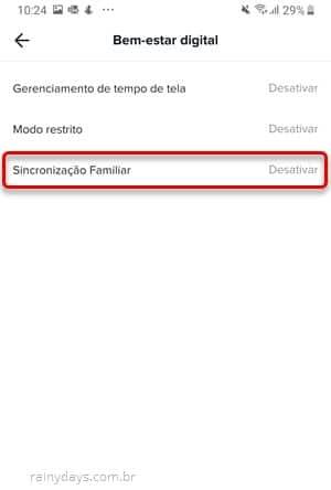 Sincronização familiar no app TikTok