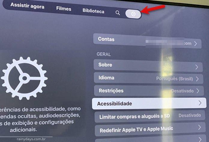 Acessibilidade legendas Apple TV app Samsung 4K