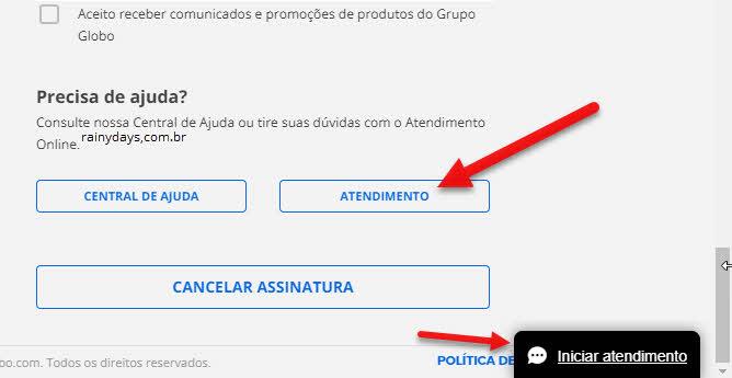 atendimento Globo, iniciar bate-papo, falar com atendente