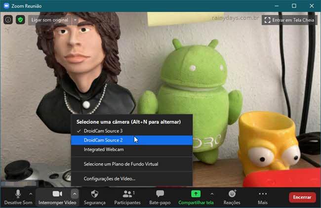 Ativar câmera do celular no Zoom PC com DroidCam