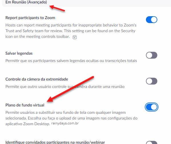 Ativar recurso de plano de fundo virtual no Zoom