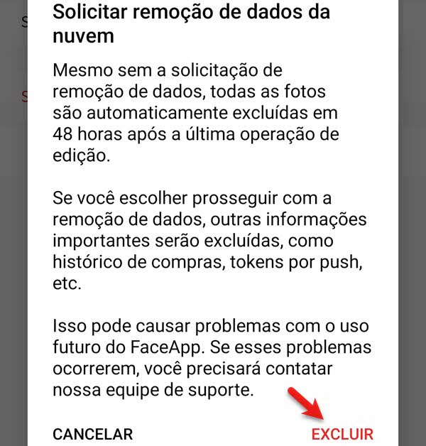 Como apagar conta e dados do FaceApp