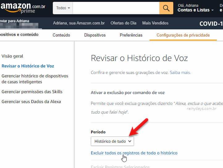 Como apagar tudo que você disse para Alexa Amazon, excluir todos registros