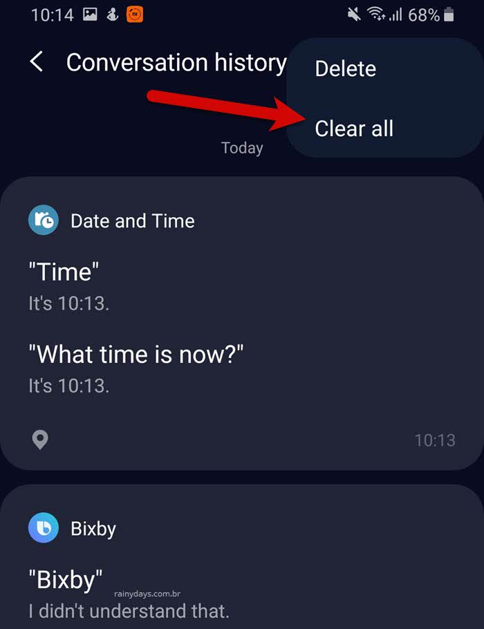 Como apagar tudo que você disse para Bixby Samsung