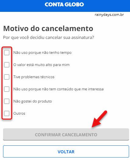 Confirmar cancelamento assinatura conta Globo
