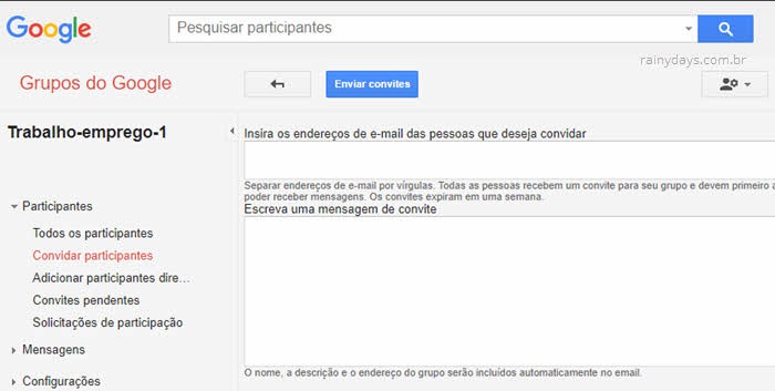 Convidar participantes para grupo no Google Grupos