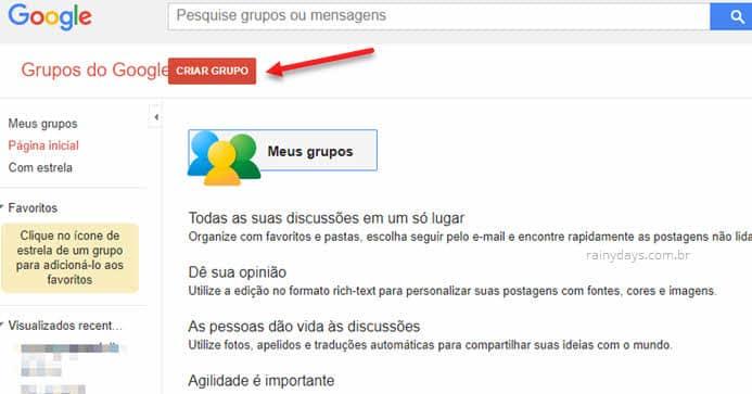 Criar grupo no Grupos do Google