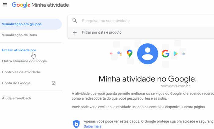Excluir atividade do Google Minha Atividade, apagar histórico