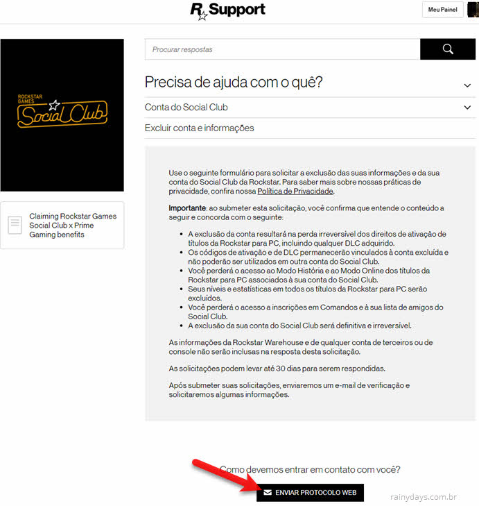 Excluir conta da Rocktar Games Social Club permanente