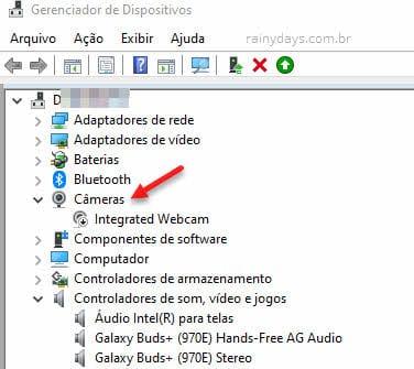 Gerenciador de Dispositivos webcam câmera do PC