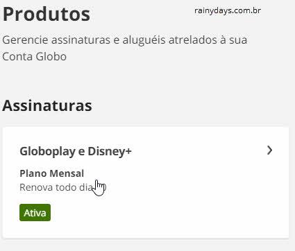 Gerenciar assinaturas e aluguéis conta Globo