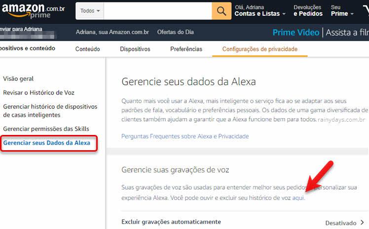 Gerenciar dados Alexa ouvir e excluir histórico de voz Alexa Amazon