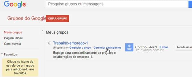 Gerenciar participantes do Grupos do Google