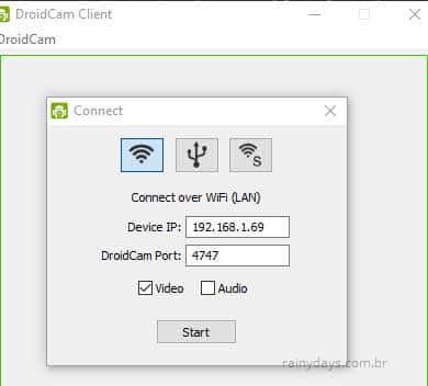 IP dispositivo DroidCam iniciar câmera do celular no PC
