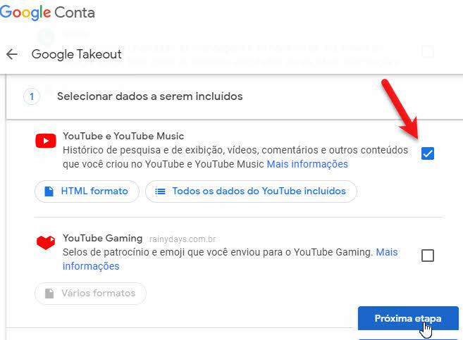 Baixar todos vídeos do YouTube de uma vez só Google Takeout
