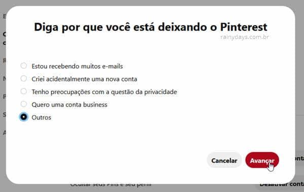 Selecionar motivo para apagar conta Pinterest