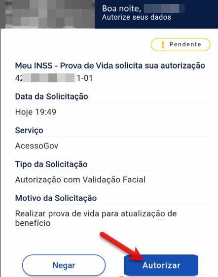 Autorização da biometria como prova de vida Meu INSS no app Meu gov.br