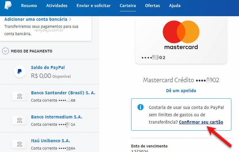 Como verificar cartão de crédito no PayPal