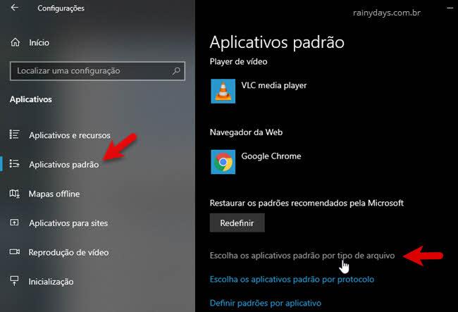Configurações aplicativos padrão do Windows por tipo de arquivo