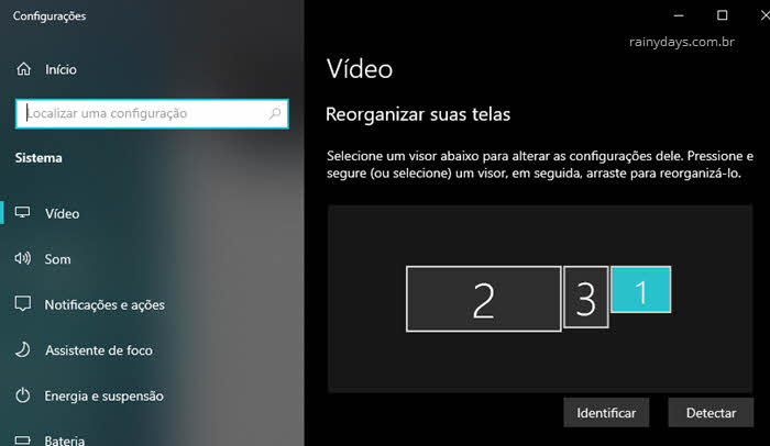Configurações de vídeo no Windows vários monitores