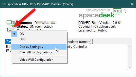 ícone de três bolinhas Display Settings Spacedesk
