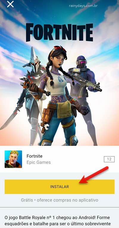 Instalar Fortnite pelo app da Epic Games