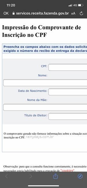 Preencher campos para emitir CPF online