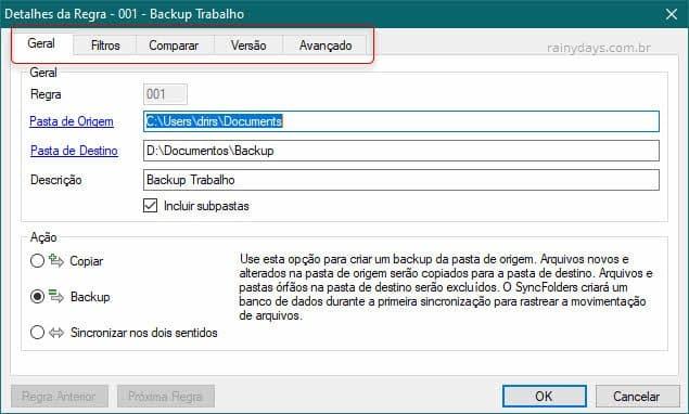 Regras de sincronização e backup para HD externo Syncfolders