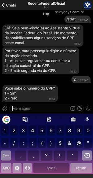 Tirar segunda via do CPF pelo Telegram