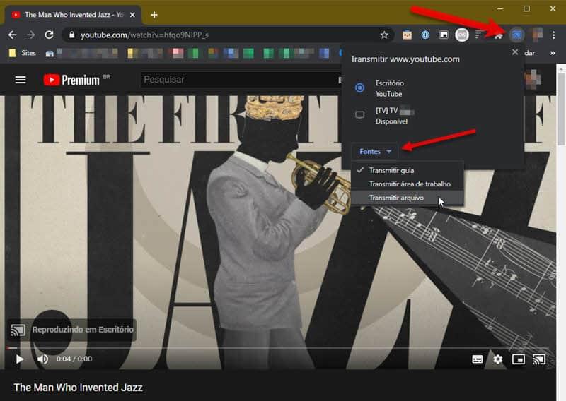 Transmitir Chrome, área de trabalho ou arquivo para Chromecast TV