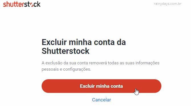 Passo a passo para excluir conta do Shutterstock