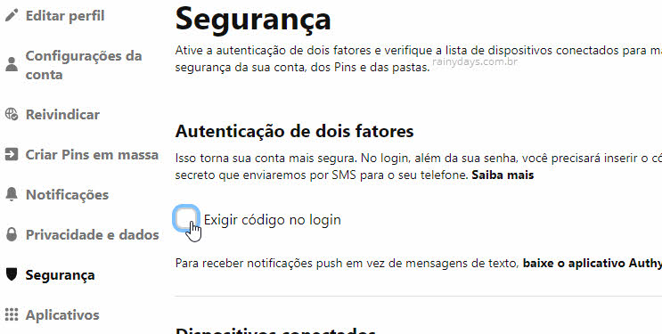 Exigir código no login duas etapas Pinterest