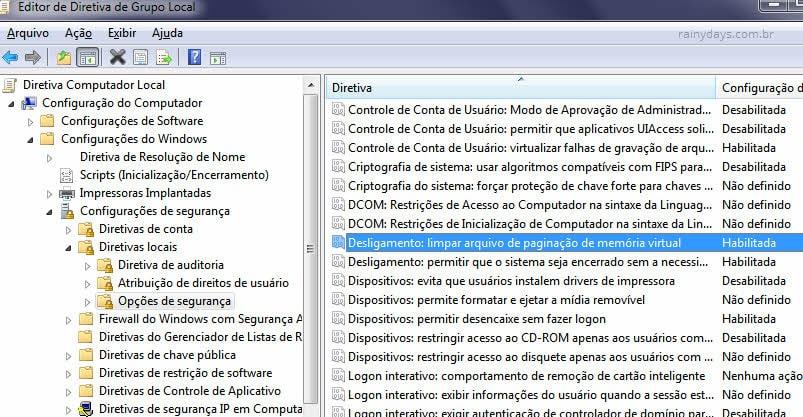 Limpar arquivo de paginação ao desligar Windows pelo Editor de Política de Grupo