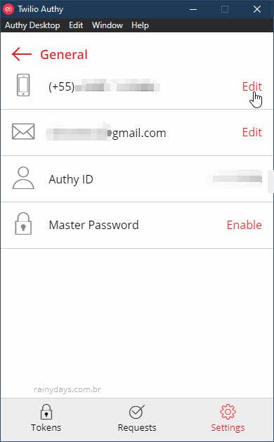 Atualizr número de telefone no app Authy gerador de códigos