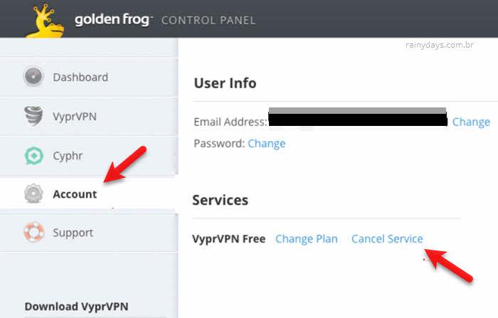 Passo a passo para excluir conta do Golden Frog VPNs