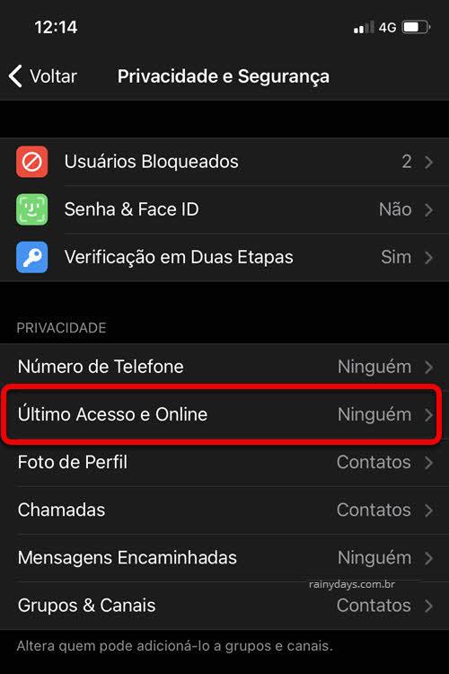 Configurações de Privacidade e Segurança Status Online app Telegram