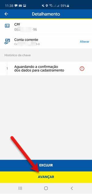Confirmar chave Pix no app BB Banco do Brasil