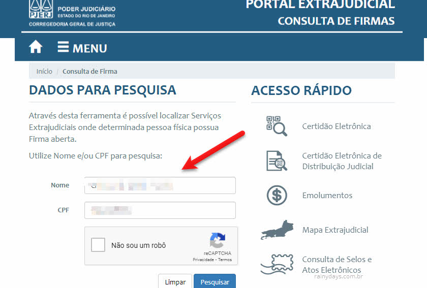 Consulta de firmas no Rio de Janeiro pelo CPF e nome