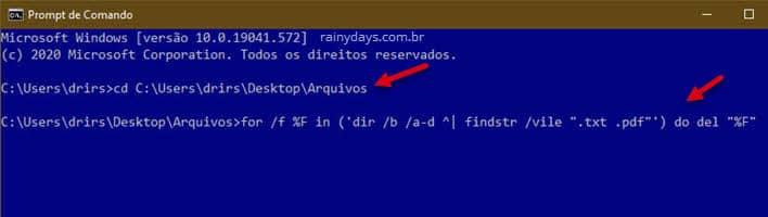 Entrar na pasta do Windows pelo Prompt de Comando e apagar extensão de arquivos específicas