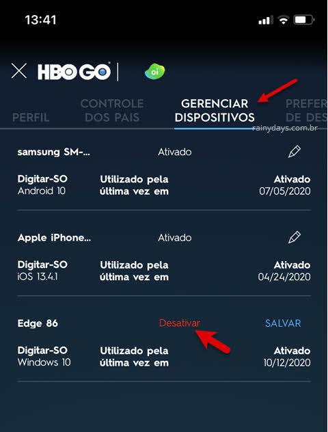 gerenciar dispositivos lápis desativar dispositivo app HBO Go
