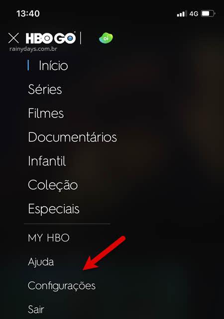 ícone três traços configurações app HBO celular
