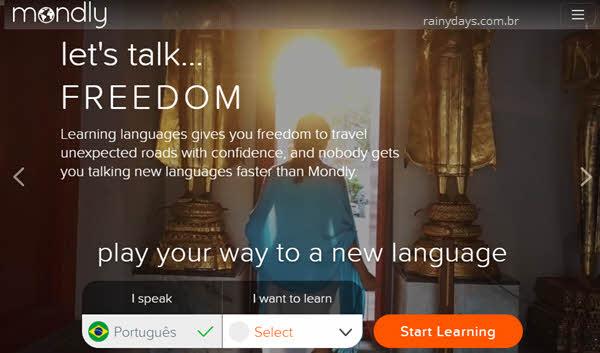 Mondly site e app para aprender idioma grátis