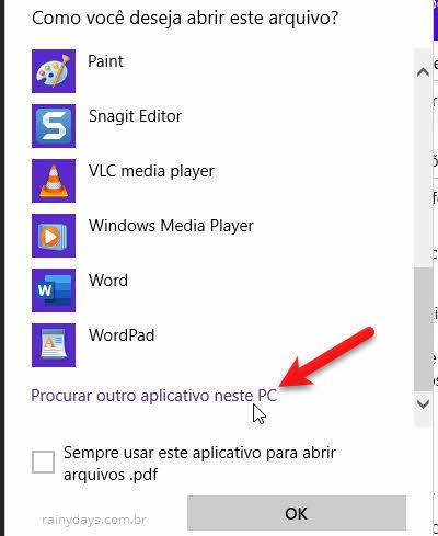 Procurar outro aplicativo neste PC Windows