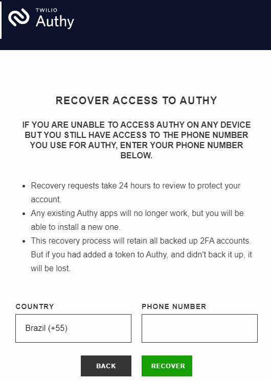 Recuperar acesso ao Authy quando tem acesso ao número de telefone mas não tem dispositivo conectado