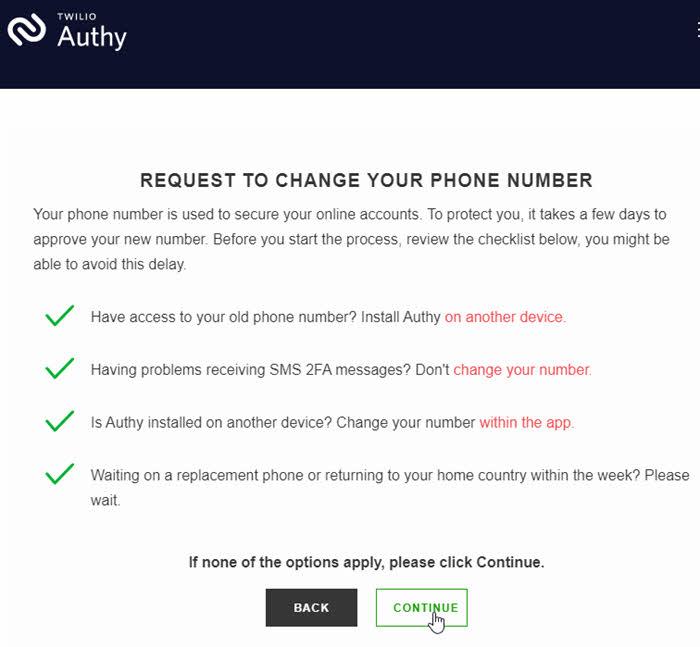 Restaurar Authy em novo celular com novo número de telefone, trocar número de telefone da conta