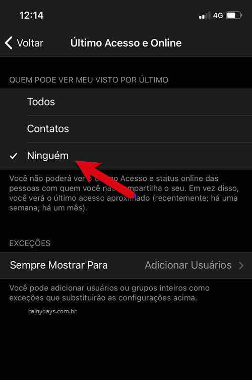 Último acesso e Online Ninguém app Telegram